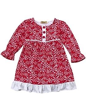 Fuibo Baby Mädchen Santa Schnee Prinzessin Weihnachten Outfits Kleidung Kleid