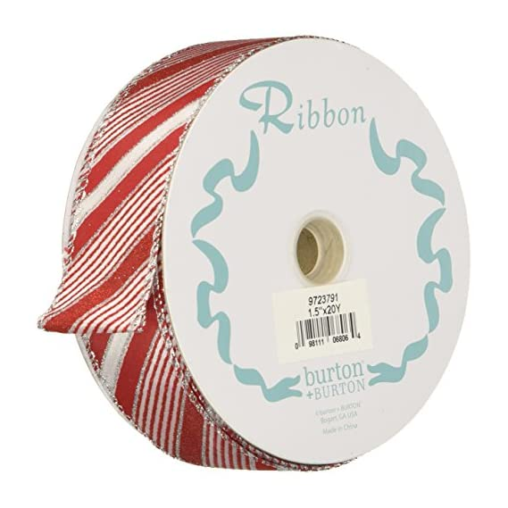 #9 Red Peppermint Stripe Wired Ribbon - 1.5 X 20 Yds