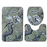 BBQBQ 3 Piezas Estera de baño + Almohadilla de Base + Cubierta del Inodoro 3 Juegos de alfombras Antideslizantes para alfombras de baño Gran Esencia de árbol50 * 80 cm + 40 * 45 cm + 40 * 50 cm