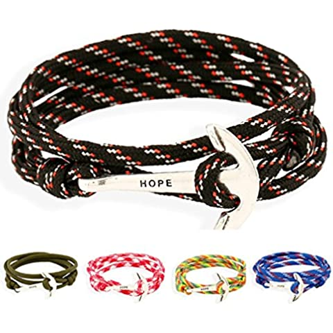 Gnzoe Gioielli Bracciali Uomo/Donne In pelle Perlina Braccialetto Polsino Nautical Navy Anchor Braided