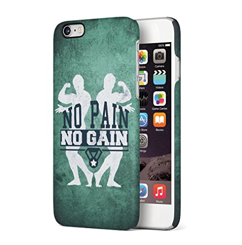 Gym No Pain No Gain Muscles Apple iPhone 6 / iPhone 6S SnapOn Hard Plastic Phone Protective Custodia Case Cover No Pain Bodybuilders