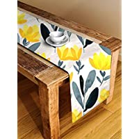 STITCHNEST™ Floral Yellow and Grey Digital Printed 4 Seater Table Runner, 13 x 60 Inches