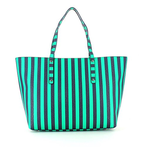 LIU JO STRIPES SHOPPING BAG - N16225E0087 Verde