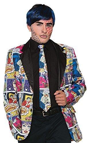 Herren Damen Bunt Comic Aufdruck Pop Art Krawatte Halloween Büchertag Woche Kostüm Outfit (Pop Art Kostüme Comic)