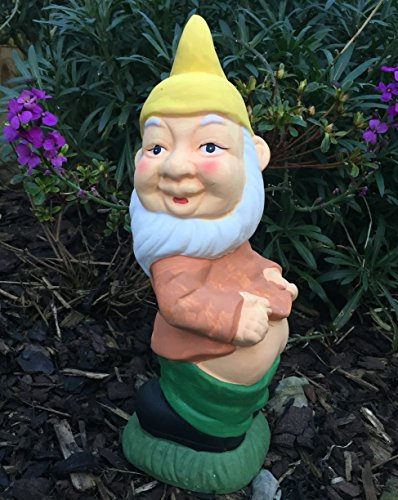 Mezzaluna Gifts Cheeky Mooning Hand Painted Gnome Garden with Yellow Hat
