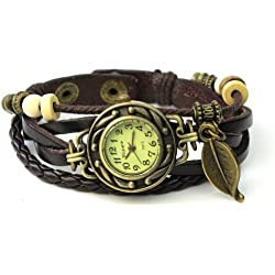 Classic Wristwatch Leaf Woven Leather Strap Roma Number Dial Lady Watch - Dark Brown