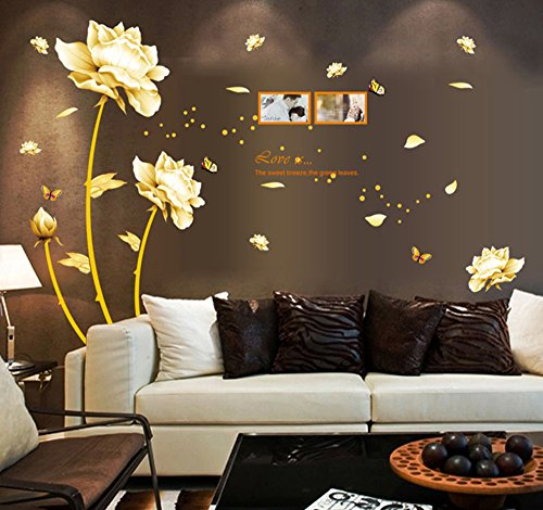 Ufengke® Bella Peonia Blumen, Schmetterlinge, Bilderrahmen, Wandsticker, Schlafzimmer, Wohnzimmer, Wandaufkleber, abnehmbare Stickers, Wanddekoration