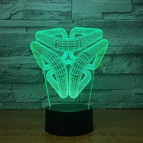 ZJFHL 3D Illusion Nachtlampe Box LED Nachtlicht für Kinder Kinder Familie Ferienhaus Dekoration Valentinstag Geschenk