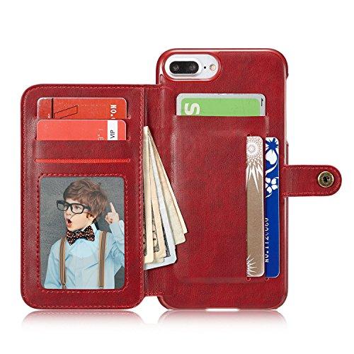 Cover per iPhone 6 Plus, Cover per iPhone 6S Plus Pelle, Bonice Custodia Ultra Sottile con Portabiglietti Posteriore Portafoglio in Autentica Pelle Case Cover per iPhone 6 Plus/6S Plus (5.5 pollici) + Griglia - Cover - 03