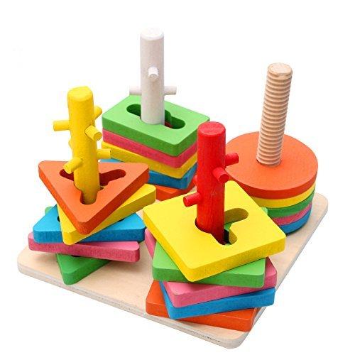 dlicher Spaß Kreative Holzfarbe und Form Geometrische Sortierung Board Stack & Sortieren Puzzle Spielzeug ()