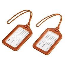 Hama Porte-étiquette à bagage (étiquettes pour bagages, étiquette de voyage, lot de 2, en plastique, inscription possible) Orange