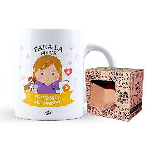 Taza ceramica 33cl en caja regalo con mensaje Para la mejor veterinaria ¡del mundo!