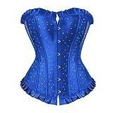 Donna Shapewear Festive Satin Strass di Tempestato Corsage Corsetto Completo Completi alla Moda per Il Viso Classico Belly Away Body Shaping Corsage Corsage (Color : Blau, Size : 3XL)