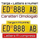 ShopGraf Targa ripetitrice per rimorchi con Adesivi Lettere e Numeri Lettera R Rossa Compresa (inviaci Il Testo della Tua Targa su PERSONALIZZA Ora)