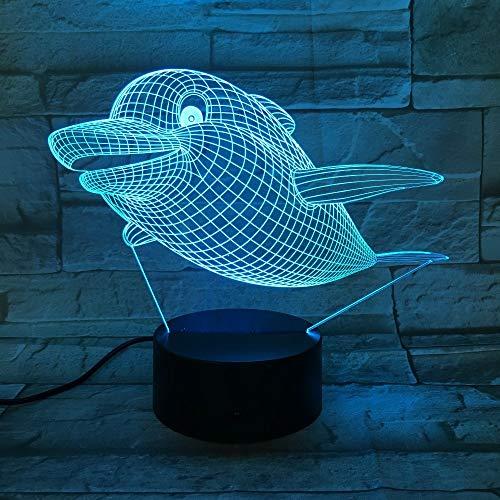 Flying Fat Dolphin 3D Led Nachtlicht Kind Junge Kinder Geburtstagsgeschenk Schlafzimmer Dekoration Nachtlicht Tischlampe