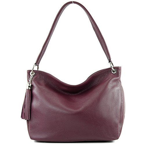 modamoda de - ital. Ledertasche Damentasche Schultertasche Umhängetasche Echtleder T154 Bordeauxviolett
