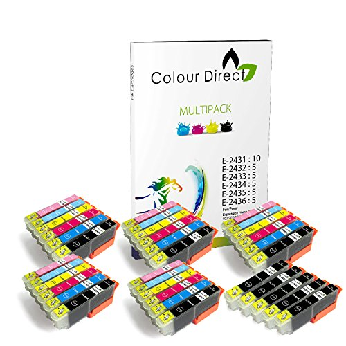 Preisvergleich Produktbild 35 (5 Satzs + 5 Schwarz ) Colour Direct Kompatible Tintenpatronen Ersatz für Epson Expression Foto XP-55 XP-750 XP-760 XP-850 XP-860 XP-950 XP-960 24XL