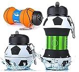 HARN Trinkflasche (Faltbare) | 200mL-550mL | Metallkarabiner | FDA | LFGB | Wasserflasche Auslaufsicher | Sportflasche BPA-Frei | Kinder, Schule, Sport, Wasser, Fahrrad, Camping, Fußball, Basketball