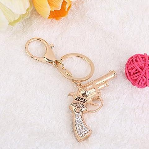 CC * CD Fermoir mousqueton porte-clés Accessoires Strass Pistolet Pendentif charm Porte-clés