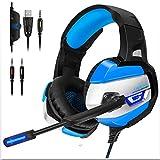 Gaming Headset - Kopfhörer Gaming Headset für Ps4 für Xbox One (Anforderungen an den Adapter), Nintendo Switch (Audio) Pc Gaming Headse, LED Lights und Noise Cancelling-Mikrofon