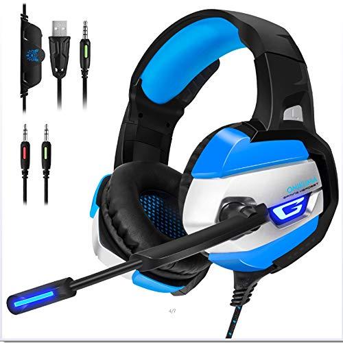 Gaming Headset - Kopfhörer Gaming Headset für Ps4 für Xbox One (Anforderungen an den Adapter), Nintendo Switch (Audio) Pc Gaming Headse, LED Lights und Noise Cancelling-Mikrofon (Universal Audio-610)