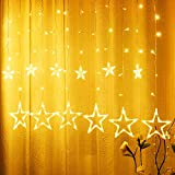 Tenda di Luci Stella, Yizhet Catena Luminosa a Stelle 2.5M Stringa di Luce a Stella,138 Leds 12 Stelle Stringa di Luce Fata Decorazioni per Natalizie/Matrimonio/Festa/Giardino(Bianco Caldo)