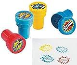 Pack of 4 - Plastic Superhero Self Ink Stampers - X-Men,Spiderman,Marvel Super Heroes Party Loot Bags Teacher Rewards