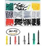 TAMAYKIM - Kit de tornillos y anclajes grandes surtidos para montaje en seco y tornillos para reparación, construcción, perforación segura (282 piezas)