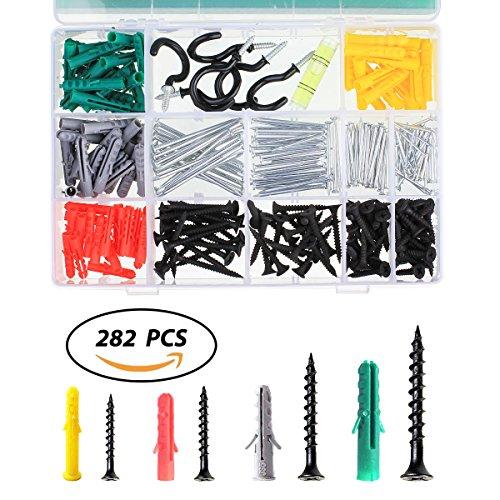 282 Stück DIY selbstschneidenden Schrauben Sortiment Schrauben und Anker Kit(Enthalten Wasserwaage&Schraubhaken) (Anker-kits)