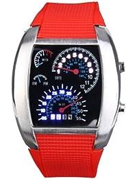 Yesurprise rot Armbanduhr Quarz Uhr LED Silikon Herrenuhr Damenuhr Sportuhr Watch Geschenk