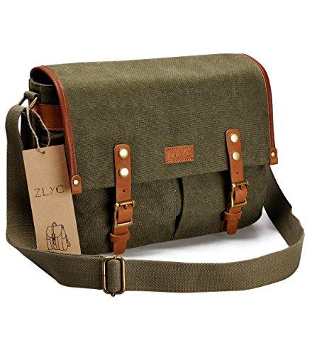 Canvas Bag Messenger Grün (ZLYC Unisex RetroEchtleder und Segeltuch Canvas Kameratasche Messenger Bag Büchertasche für DSLR-Kamera und Linse (Grün))