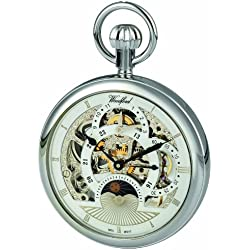 Woodford Skeleton Pocket Watch, 1050, Men's Chrome-Finished Two Time Zone Moon-Phase (Suitable for Engraving)