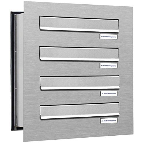 4er Durchwurfbriefkasten, 4 Fach Briefkasten DIN A4, wetterfeste Briefkastenanlage aus V2A Edelstahl
