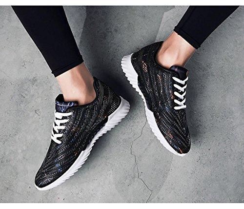 Chaussure Respirante Pour Hommes Sportifs Surface Du Gilet Motif De Camouflage Chaussure De Jogging Noir