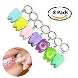 8 Stücke 15 m Gewachste Zahnseide Picks Zahnpflege mit Schlüsselanhänger für Reise und outdoor Zufällige Farben