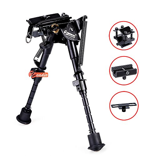 zeadio kippbar schwenkbar Zweibein mit Schlinge-Halterung und 3 Adapter (15 bis 23 cm / 6 bis 9 Zoll) -