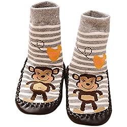 K-youth® 1 Pares Invierno Bebé Calcetines Algodón Calcetines de piso Antideslizante Para Bebé Niños Niñas 0-2 Años (Gris, 6-18 meses)