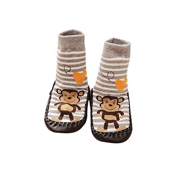 K-youth® 1 Pares Invierno Bebé Calcetines Algodón Calcetines de piso Antideslizante Para Bebé Niños Niñas 0-2 Años 1