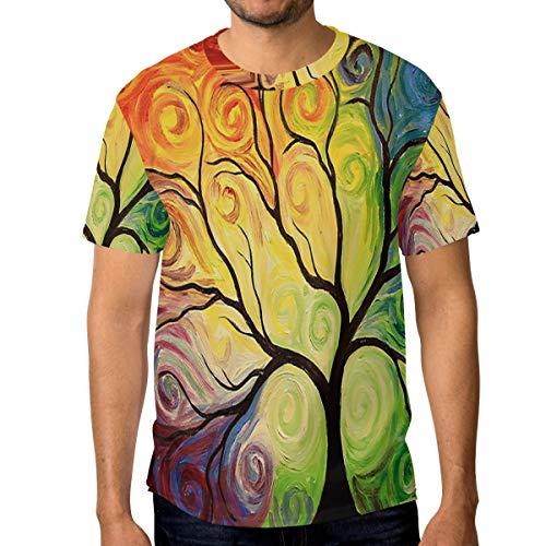 T-Shirt für Männer Jungen Fantasy Rainbow Tree Custom Short Sleeve -