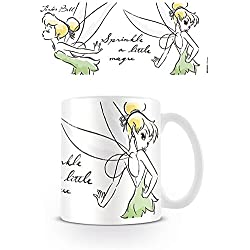 empireposter–Disney–Tinkerbell–Magic–Tamaño (cm), aprox. 9,5–Tazas de licencia, Nuevo–Descripción:–Taza (cerámica, color blanco, estampado, Capacidad 320ml, producto oficial., apta para lavavajillas y microondas de