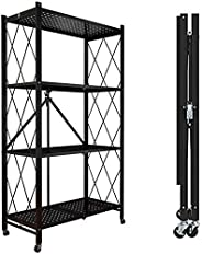 Foldable Storage Shelf Unit with Wheel, Heavy Duty Storage Shelving Unit for Kitchen Garage Laundry Bathroom C