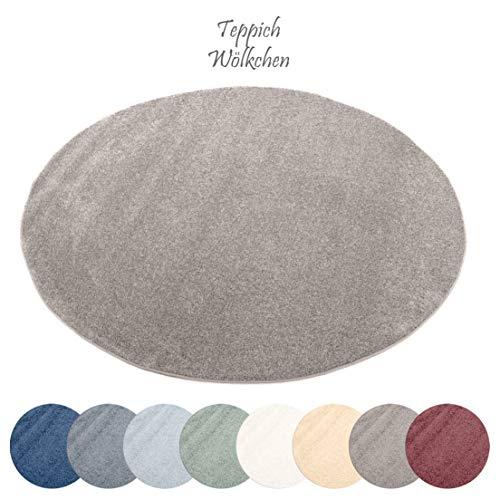 Designer-Teppich Pastell Kollektion   Flauschige Flachflor Teppiche fürs Wohnzimmer, Esszimmer, Schlafzimmer oder Kinderzimmer   Einfarbig, Schadstoffgeprüft (Grau Braun, 150 cm rund)