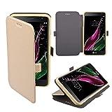 LG Zero / LG Class Hülle Flip Case Gold - Moozy® Dünne