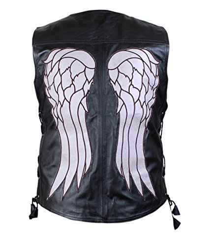 Leatherly Giacca Uomo The Walking Dead Governor - Daryl Dixon Angel Wings Pelle Vest Giacca- 3XL