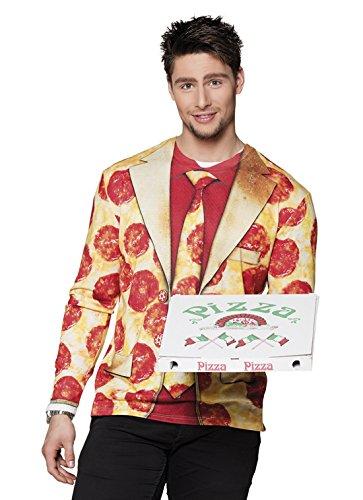 erdbeerloft - Herren Kostüm Shirt / Hemd mit Pizza Print, Mehrfarbig, Größe XL (Pizza Kostüme Erwachsene)