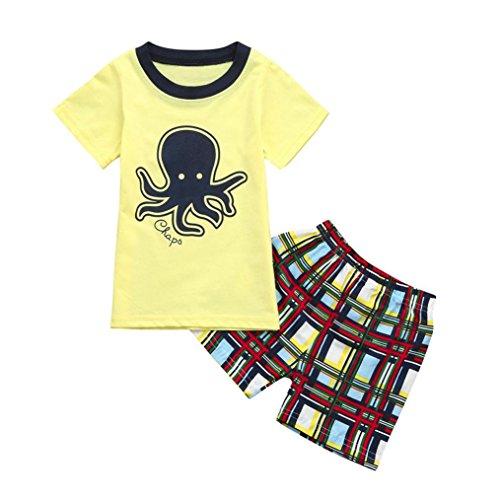 Bonjouree Ensembles Shorts Et Hauts Garçon T-Shirt Mancehs Courtes Dinosaure Imprimé Et Shorts à Carreaux Rayé Ete pour enfant Garçon 2-7 Ans (Orange, 5 Ans)