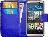 GizzmoHeaven HTC One M9 Leder Hülle Schutzhülle Tasche mit Karte Halter Klappetui Flip Case Cover Etui Brieftasche für HTC M9 mit Schutzfolie und Stylus Stift - Blau