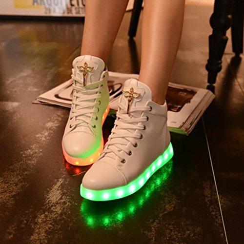 [Présents:petite serviette]JUNGLEST - 7 Couleur Mode Unisexe Homme Femme USB Charge LED Lumière Lumineux Clignotants Chaussures de marche Chaussures de Sports Blanc
