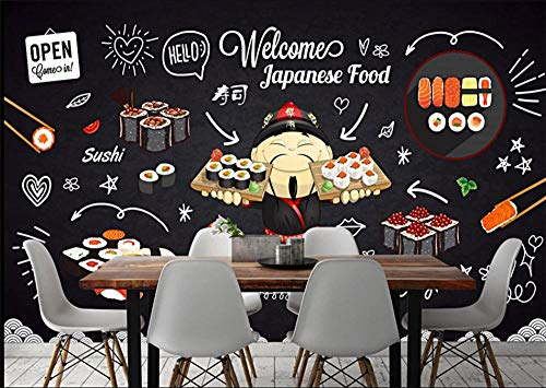 GBHL Pizarra moderna Cute Sushi Restaurant Wall Paper
