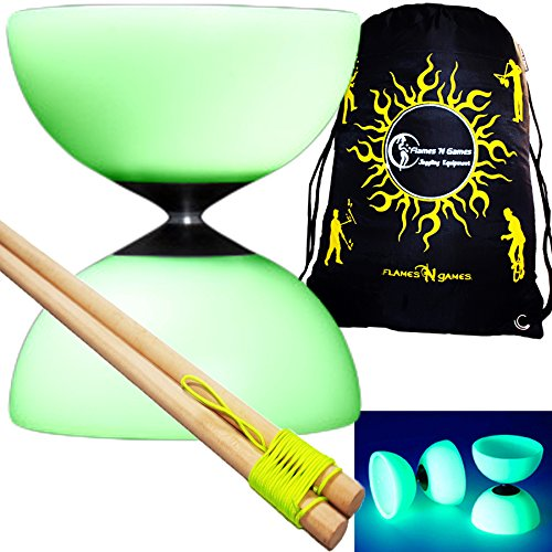 Mr B Millennium Diabolo-Set (Leuchtet im Dunkeln) + Diablo-Handstäbchen, Schnur & Diabolo-Reisetasche